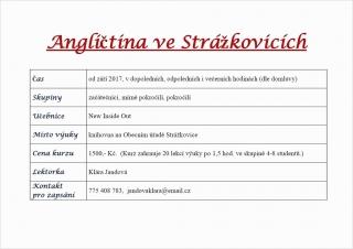 Nabídka výuky Anglického jazyka - Strážkovice