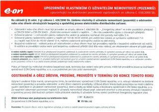E.ON ČR Upozornění vlastníkům či uživatelům nemovitostí