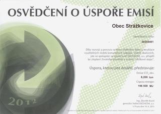 Osvědčení o úspoře emisí za rok 2012