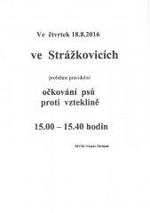 Očkování psů proti vzteklině - Strážkovice