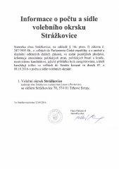 Informace o počtu a sídle volebního okrsku Strážkovice