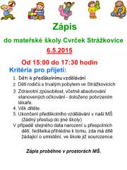 Zápis do Mateřské školy Cvrček 06.05.2015